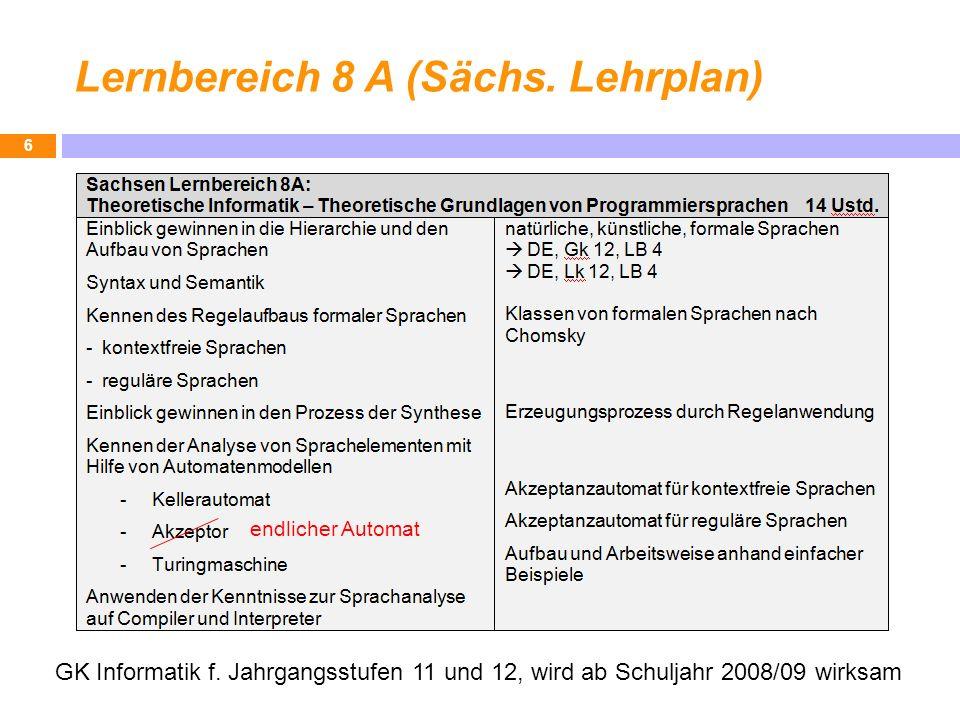 Lernbereich 8 A (Sächs. Lehrplan) 6 GK Informatik f. Jahrgangsstufen 11 und 12, wird ab Schuljahr 2008/09 wirksam endlicher Automat