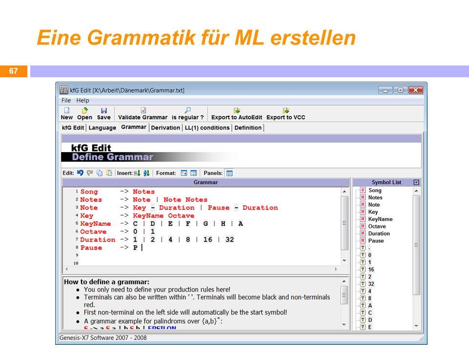 Eine Grammatik für ML erstellen 67