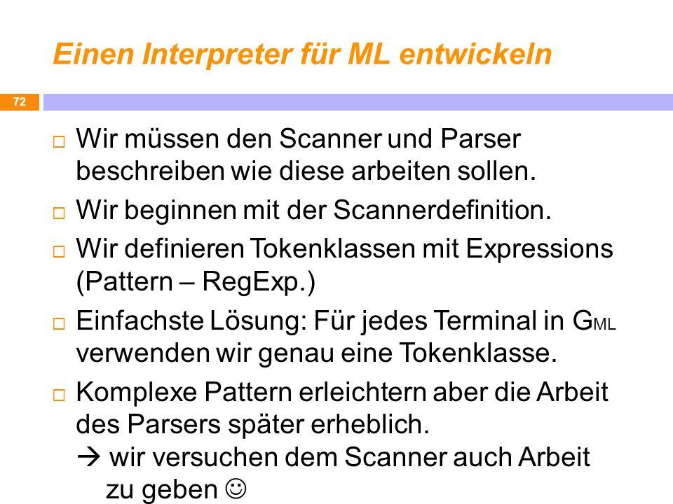 Einen Interpreter für ML entwickeln 72 Wir müssen den Scanner und Parser beschreiben wie diese arbeiten sollen. Wir beginnen mit der Scannerdefinition