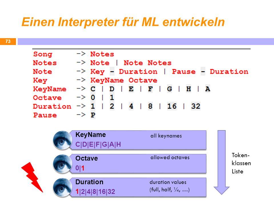 Einen Interpreter für ML entwickeln 73 KeyName C|D|E|F|G|A|H Octave 0|1 Duration 1|2|4|8|16|32 duration values (full, half, ¼, …) all keynames allowed