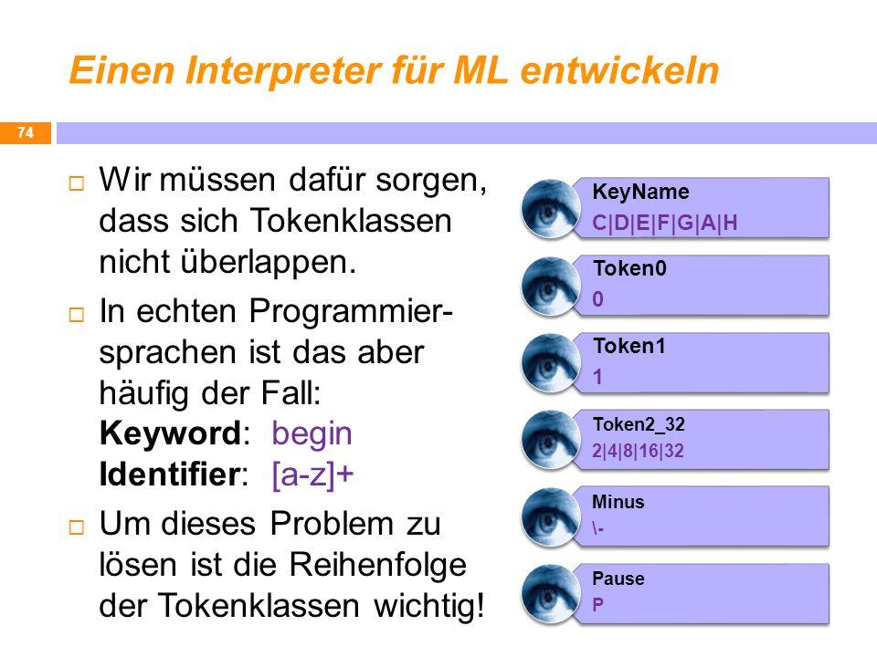 Einen Interpreter für ML entwickeln Wir müssen dafür sorgen, dass sich Tokenklassen nicht überlappen. In echten Programmier- sprachen ist das aber häu