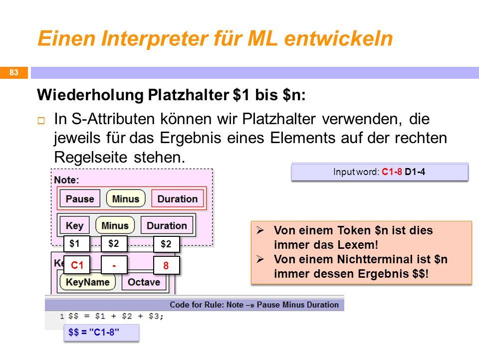 Einen Interpreter für ML entwickeln Wiederholung Platzhalter $1 bis $n: In S-Attributen können wir Platzhalter verwenden, die jeweils für das Ergebnis