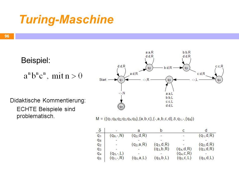 Turing-Maschine 96 Beispiel: Didaktische Kommentierung: ECHTE Beispiele sind problematisch.