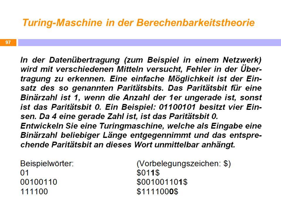 Turing-Maschine in der Berechenbarkeitstheorie 97