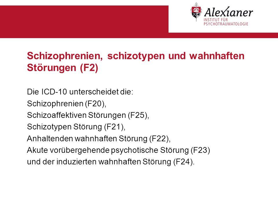 Schizophrenien, schizotypen und wahnhaften Störungen (F2) Die ICD-10 unterscheidet die: Schizophrenien (F20), Schizoaffektiven Störungen (F25), Schizo