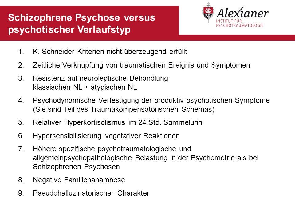 Schizophrene Psychose versus psychotischer Verlaufstyp 1.K. Schneider Kriterien nicht überzeugend erfüllt 2.Zeitliche Verknüpfung von traumatischen Er