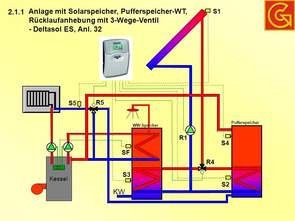 Kessel Kessel- Regelung KW Anlage mit Solarspeicher, Pufferspeicher-WT, Rücklaufanhebung mit 3-Wege-Ventil - Deltasol ES, Anl. 32 WW-Speicher Puffersp