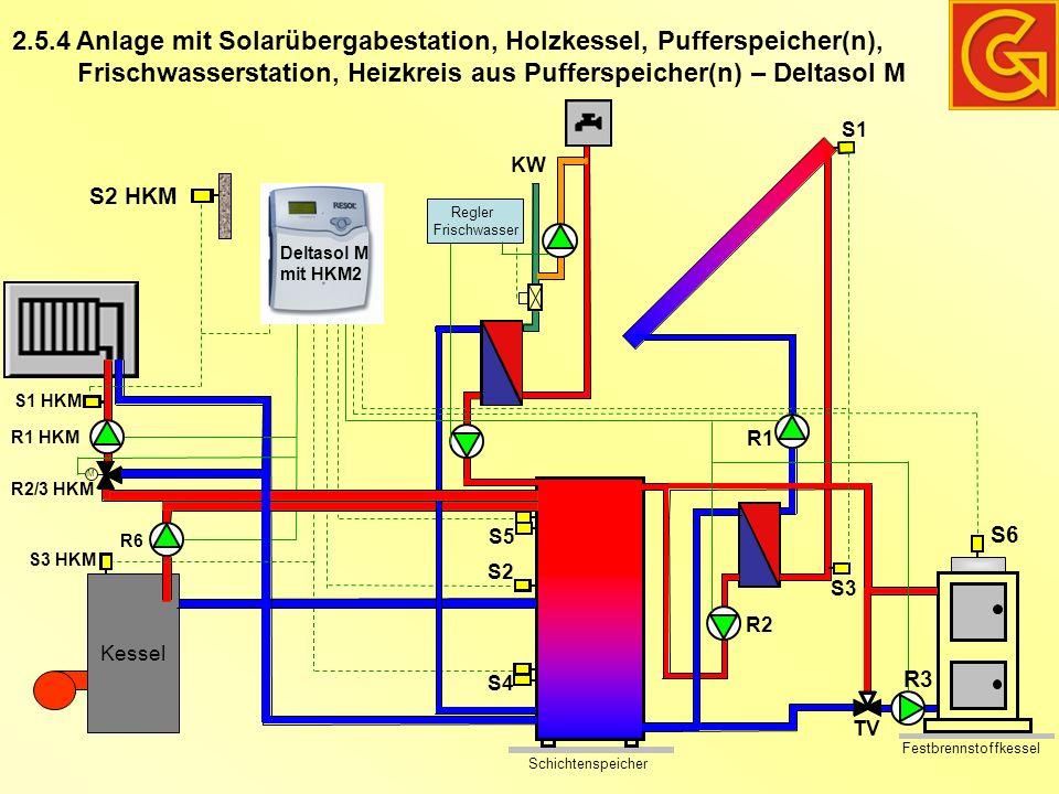 Anlage mit Solarübergabestation, Holzkessel, Pufferspeicher(n), Frischwasserstation, Heizkreis aus Pufferspeicher(n) – Deltasol M 2.5.4 Schichtenspeic