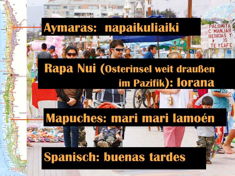Spanisch: buenas tardes Aymaras: napaikuliaiki Mapuches: mari mari lamoén Rapa Nui ( Osterinsel weit draußen im Pazifik ): Iorana