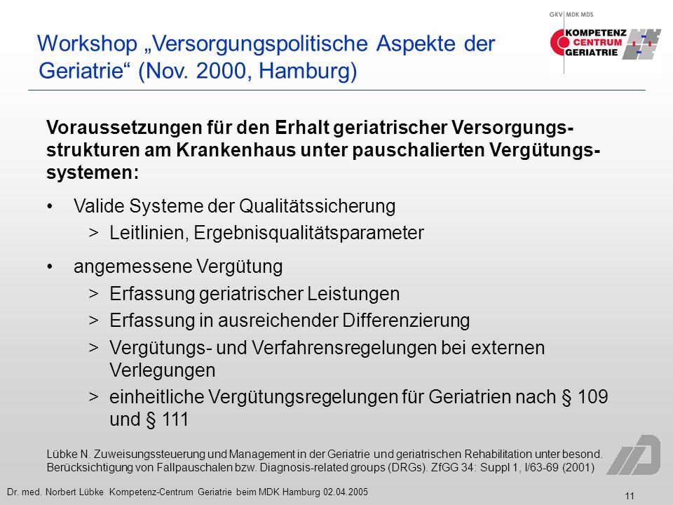 11 Dr. med. Norbert Lübke Kompetenz-Centrum Geriatrie beim MDK Hamburg 02.04.2005 Workshop Versorgungspolitische Aspekte der Geriatrie (Nov. 2000, Ham