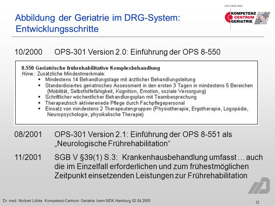 12 Dr. med. Norbert Lübke Kompetenz-Centrum Geriatrie beim MDK Hamburg 02.04.2005 Abbildung der Geriatrie im DRG-System: Entwicklungsschritte 10/2000O