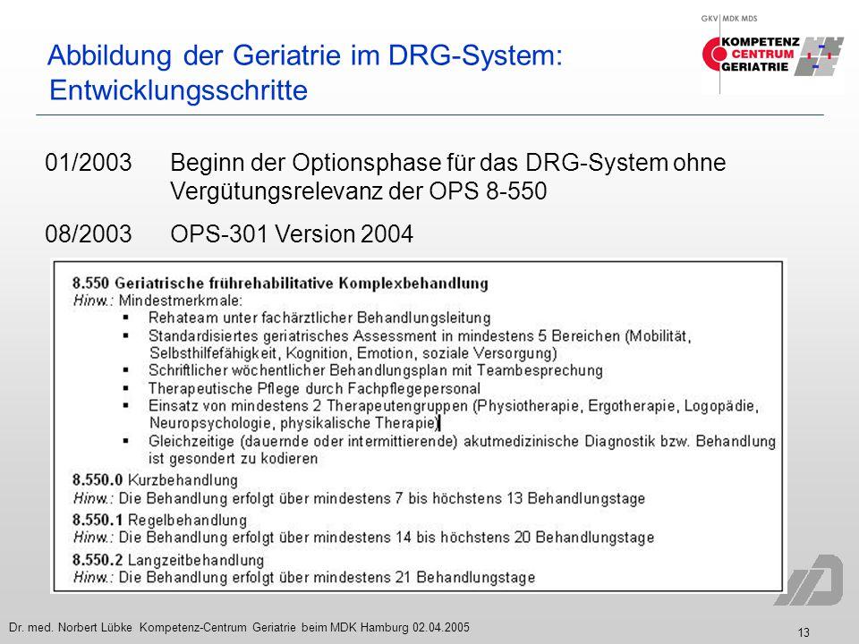 13 Dr. med. Norbert Lübke Kompetenz-Centrum Geriatrie beim MDK Hamburg 02.04.2005 Abbildung der Geriatrie im DRG-System: Entwicklungsschritte 01/2003B