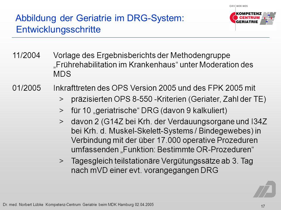 17 Dr. med. Norbert Lübke Kompetenz-Centrum Geriatrie beim MDK Hamburg 02.04.2005 Abbildung der Geriatrie im DRG-System: Entwicklungsschritte 11/2004V