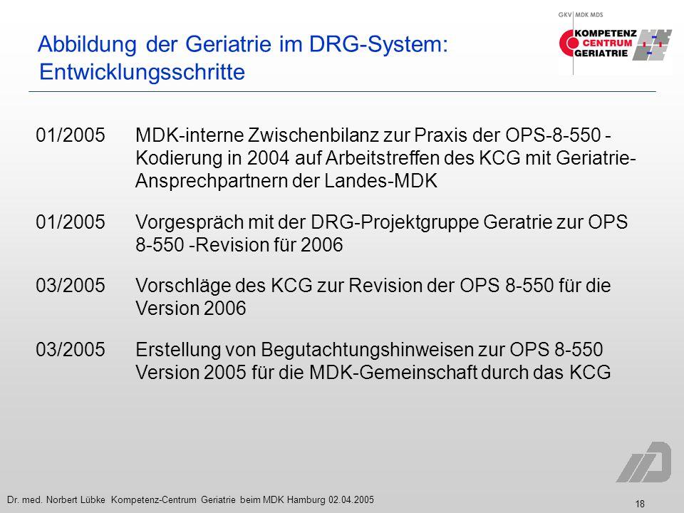 18 Dr. med. Norbert Lübke Kompetenz-Centrum Geriatrie beim MDK Hamburg 02.04.2005 Abbildung der Geriatrie im DRG-System: Entwicklungsschritte 01/2005M