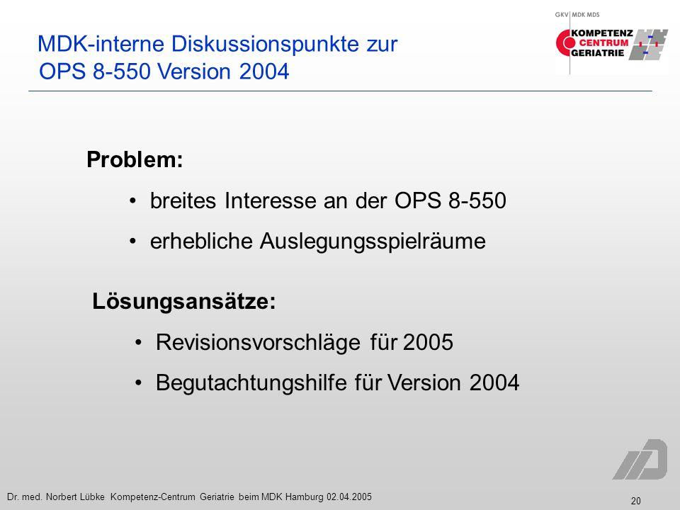20 Dr. med. Norbert Lübke Kompetenz-Centrum Geriatrie beim MDK Hamburg 02.04.2005 MDK-interne Diskussionspunkte zur OPS 8-550 Version 2004 Problem: br