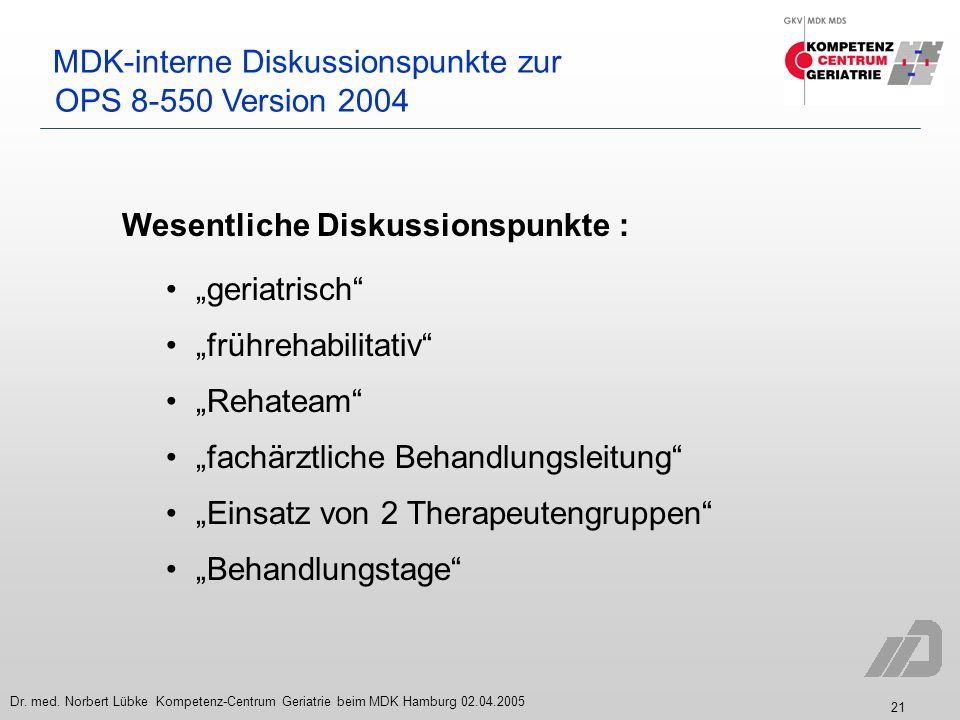 21 Dr. med. Norbert Lübke Kompetenz-Centrum Geriatrie beim MDK Hamburg 02.04.2005 MDK-interne Diskussionspunkte zur OPS 8-550 Version 2004 Wesentliche