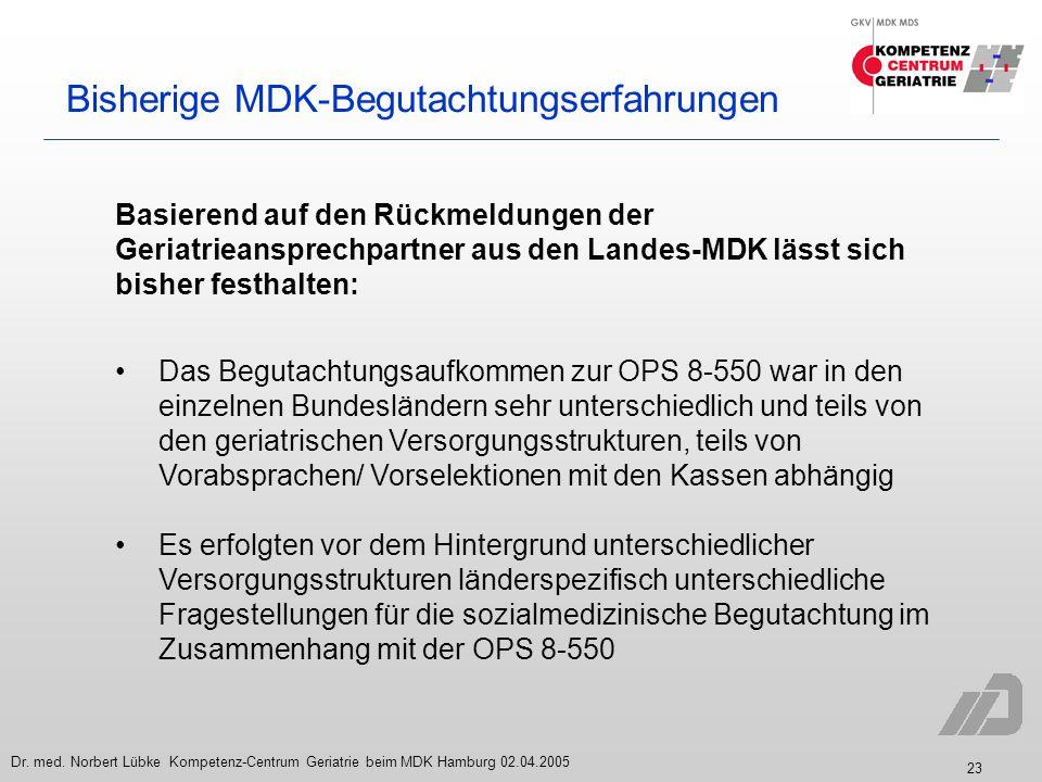 23 Dr. med. Norbert Lübke Kompetenz-Centrum Geriatrie beim MDK Hamburg 02.04.2005 Bisherige MDK-Begutachtungserfahrungen Das Begutachtungsaufkommen zu