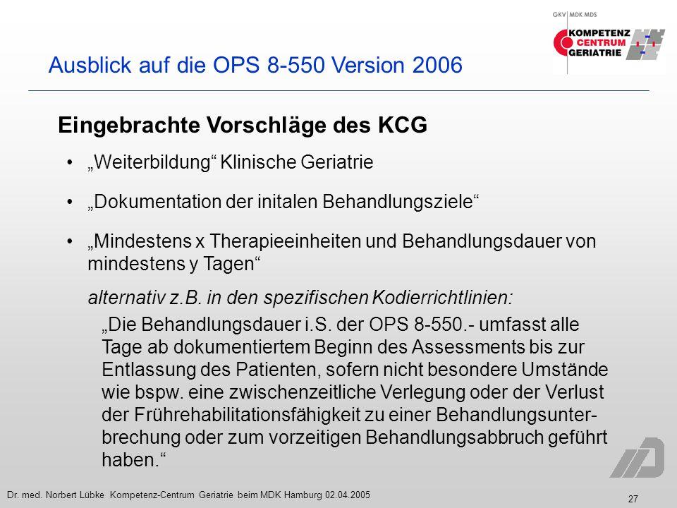 27 Dr. med. Norbert Lübke Kompetenz-Centrum Geriatrie beim MDK Hamburg 02.04.2005 Ausblick auf die OPS 8-550 Version 2006 Eingebrachte Vorschläge des