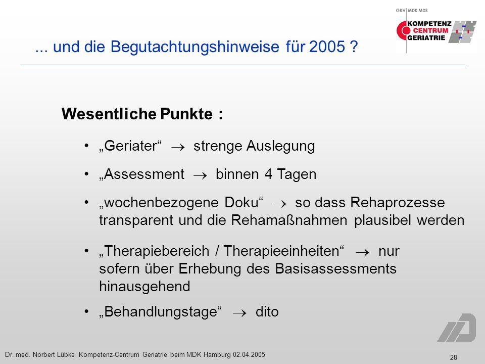 28 Dr. med. Norbert Lübke Kompetenz-Centrum Geriatrie beim MDK Hamburg 02.04.2005... und die Begutachtungshinweise für 2005 ? Wesentliche Punkte : Ger