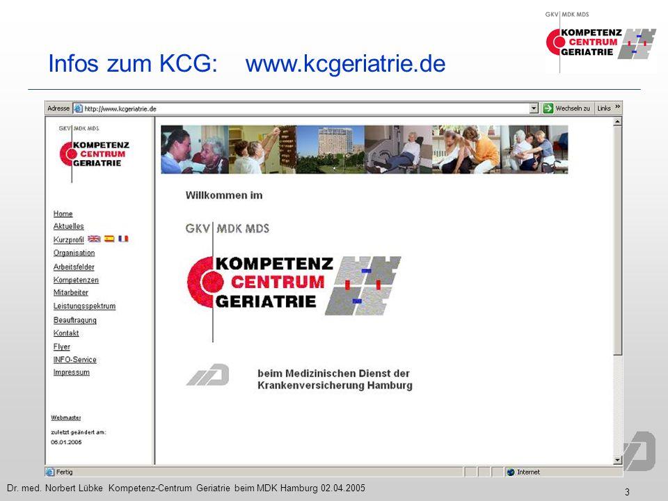 3 Dr. med. Norbert Lübke Kompetenz-Centrum Geriatrie beim MDK Hamburg 02.04.2005 Infos zum KCG: www.kcgeriatrie.de