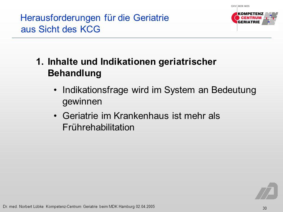 30 Dr. med. Norbert Lübke Kompetenz-Centrum Geriatrie beim MDK Hamburg 02.04.2005 Herausforderungen für die Geriatrie aus Sicht des KCG 1. Inhalte und