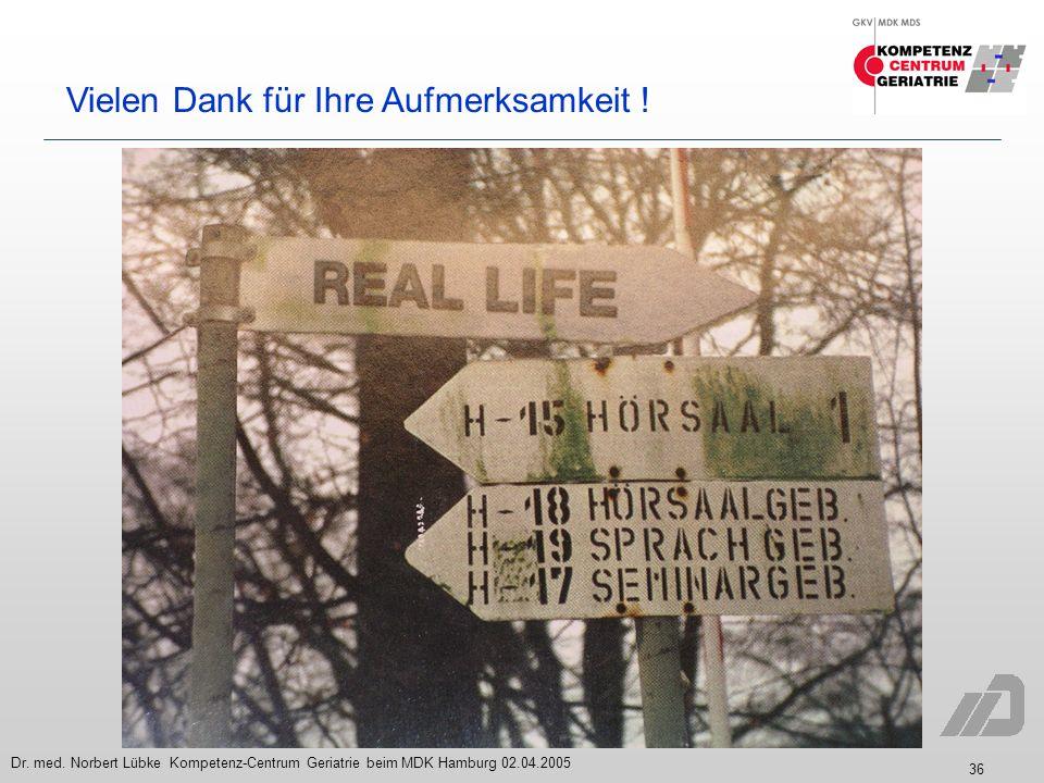 36 Dr. med. Norbert Lübke Kompetenz-Centrum Geriatrie beim MDK Hamburg 02.04.2005 Vielen Dank für Ihre Aufmerksamkeit !