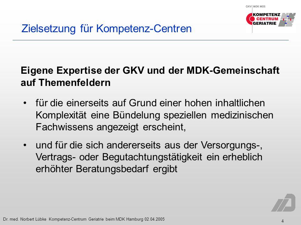 4 Dr. med. Norbert Lübke Kompetenz-Centrum Geriatrie beim MDK Hamburg 02.04.2005 Zielsetzung für Kompetenz-Centren Eigene Expertise der GKV und der MD