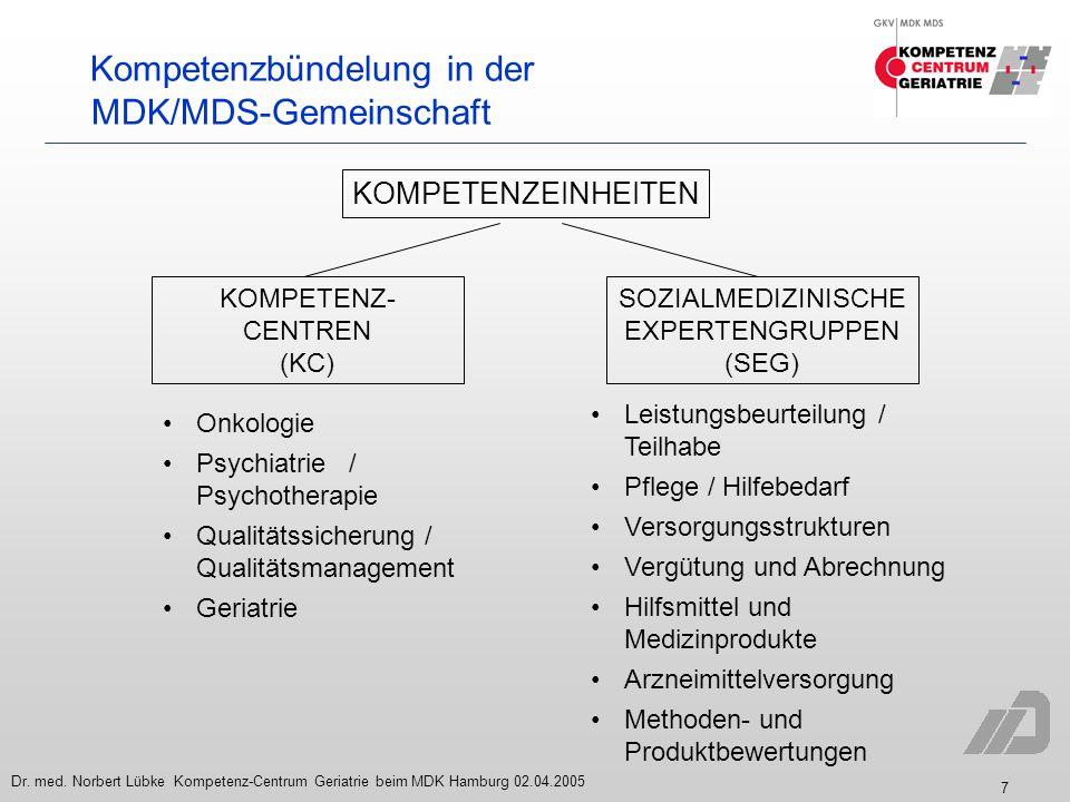 7 Dr. med. Norbert Lübke Kompetenz-Centrum Geriatrie beim MDK Hamburg 02.04.2005 Kompetenzbündelung in der MDK/MDS-Gemeinschaft KOMPETENZEINHEITEN SOZ