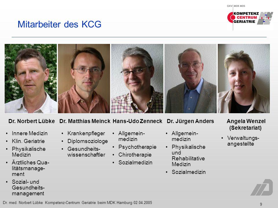 9 Dr. med. Norbert Lübke Kompetenz-Centrum Geriatrie beim MDK Hamburg 02.04.2005 Mitarbeiter des KCG Innere Medizin Klin. Geriatrie Physikalische Medi