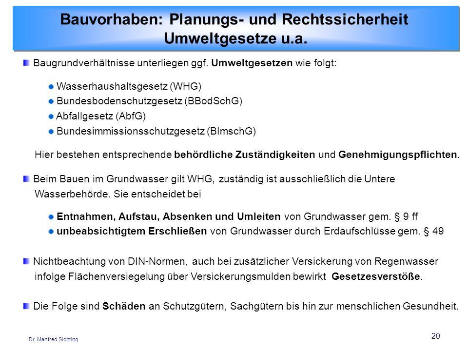 20 Dr. Manfred Sichting Baugrundverhältnisse unterliegen ggf. Umweltgesetzen wie folgt: Wasserhaushaltsgesetz (WHG) Bundesbodenschutzgesetz (BBodSchG)