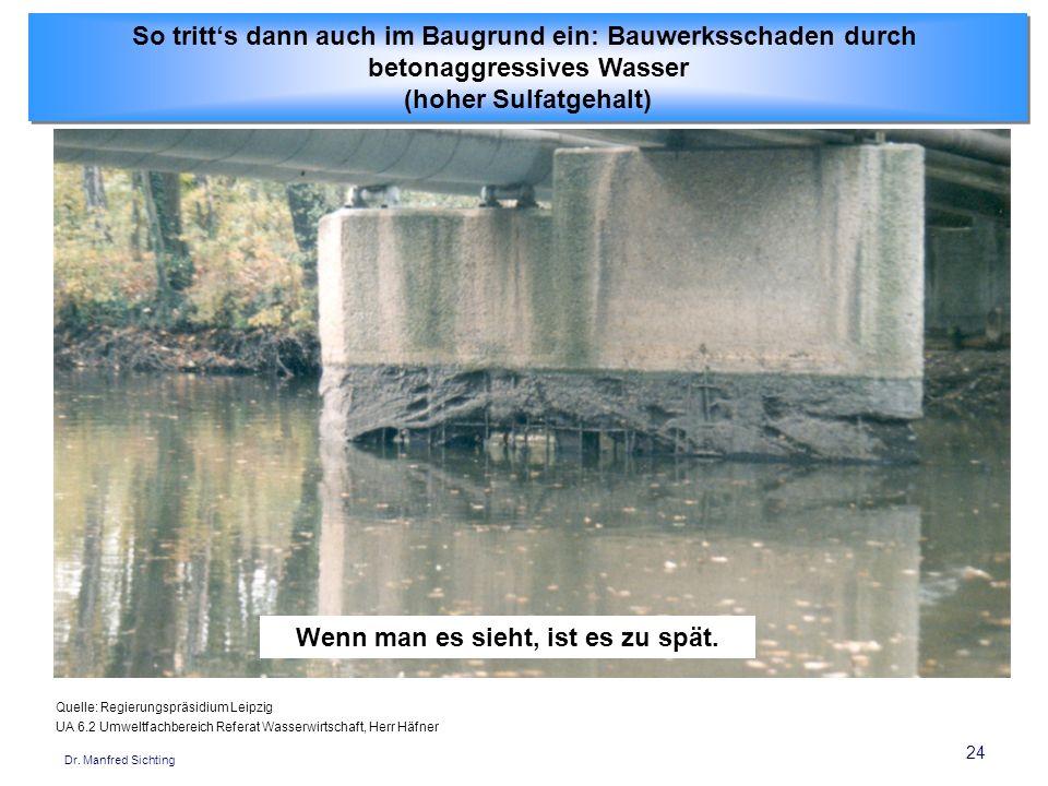 24 Dr. Manfred Sichting So tritts dann auch im Baugrund ein: Bauwerksschaden durch betonaggressives Wasser (hoher Sulfatgehalt) So tritts dann auch im