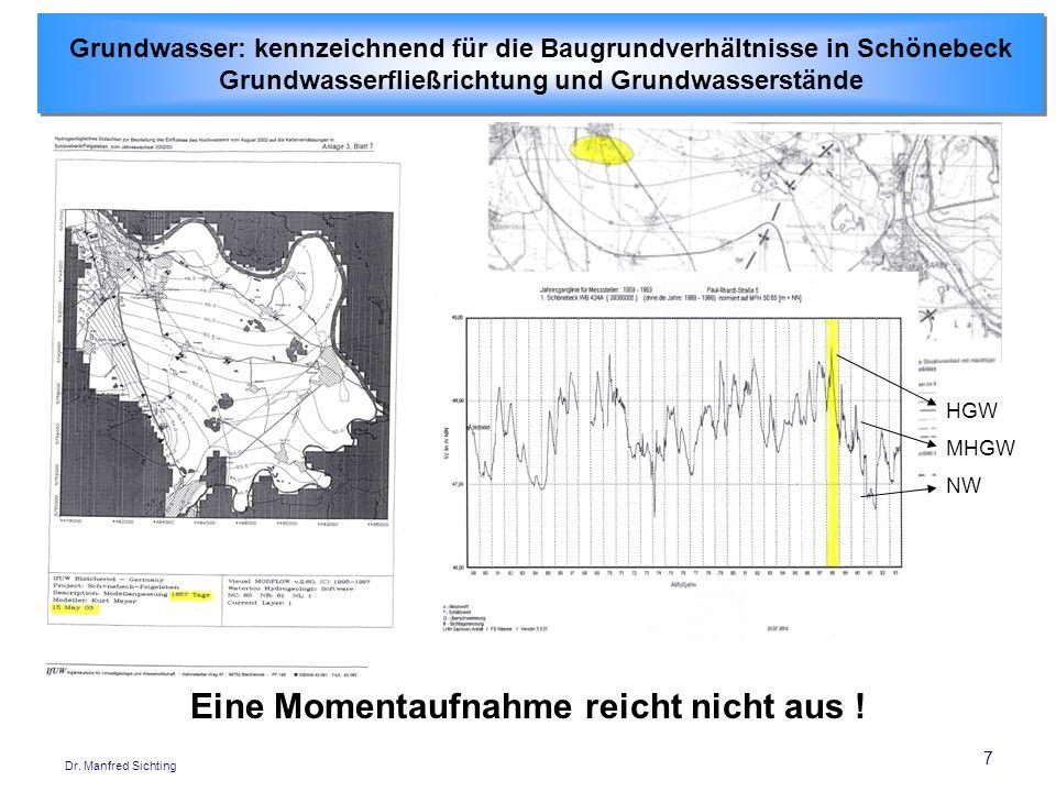 7 Dr. Manfred Sichting Grundwasser: kennzeichnend für die Baugrundverhältnisse in Schönebeck Grundwasserfließrichtung und Grundwasserstände Grundwasse
