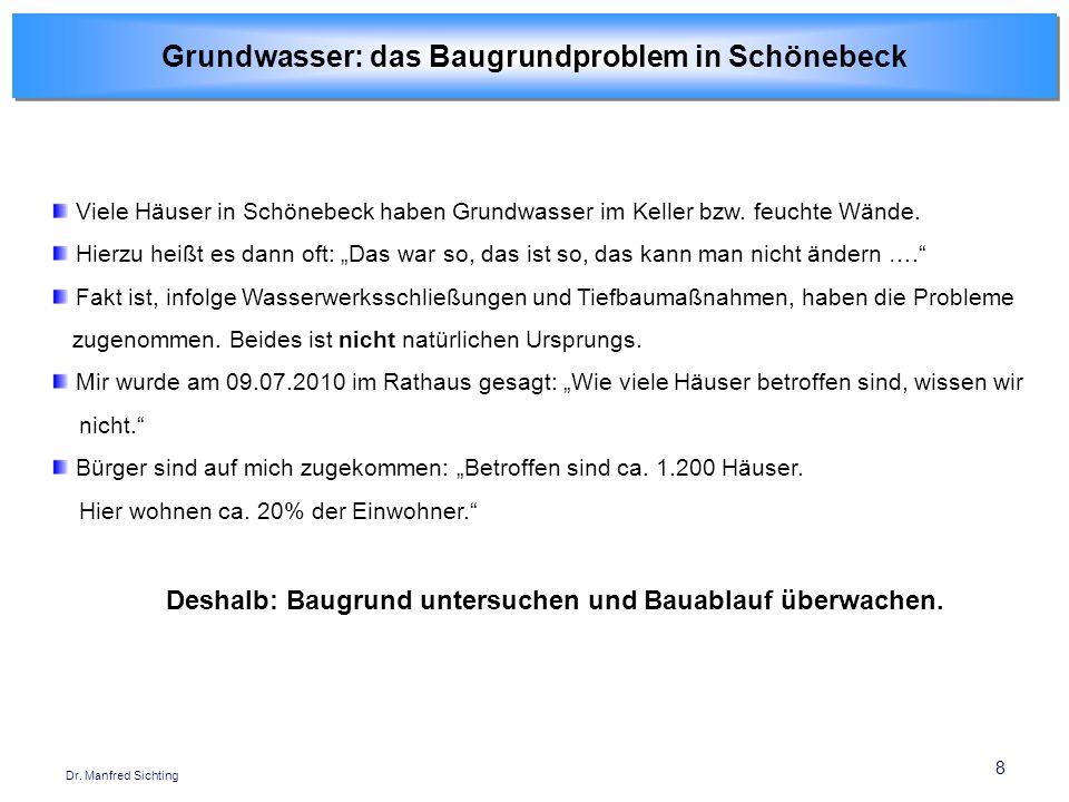 8 Dr. Manfred Sichting Viele Häuser in Schönebeck haben Grundwasser im Keller bzw. feuchte Wände. Hierzu heißt es dann oft: Das war so, das ist so, da