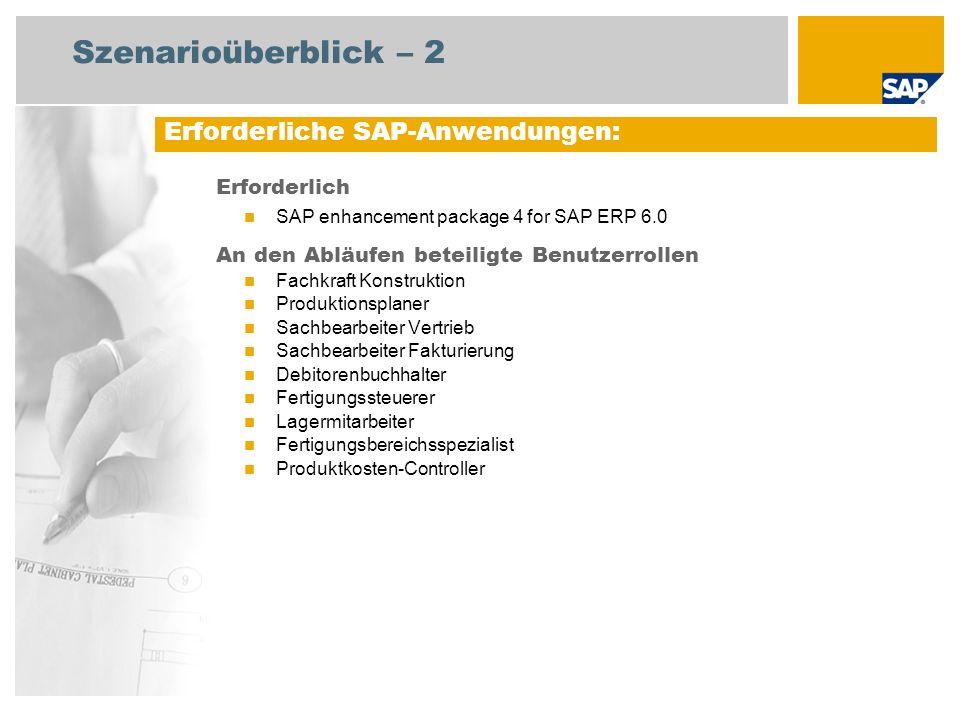 Szenarioüberblick – 2 Erforderlich SAP enhancement package 4 for SAP ERP 6.0 An den Abläufen beteiligte Benutzerrollen Fachkraft Konstruktion Produkti