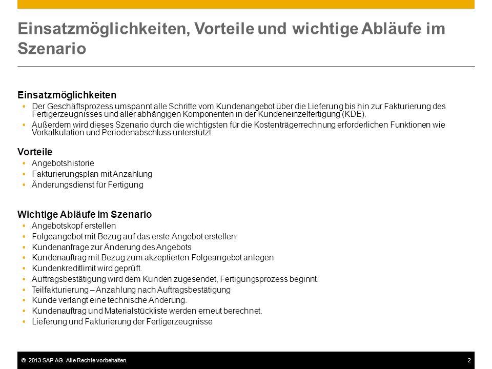 ©2013 SAP AG. Alle Rechte vorbehalten.2 Einsatzmöglichkeiten, Vorteile und wichtige Abläufe im Szenario Einsatzmöglichkeiten Der Geschäftsprozess umsp