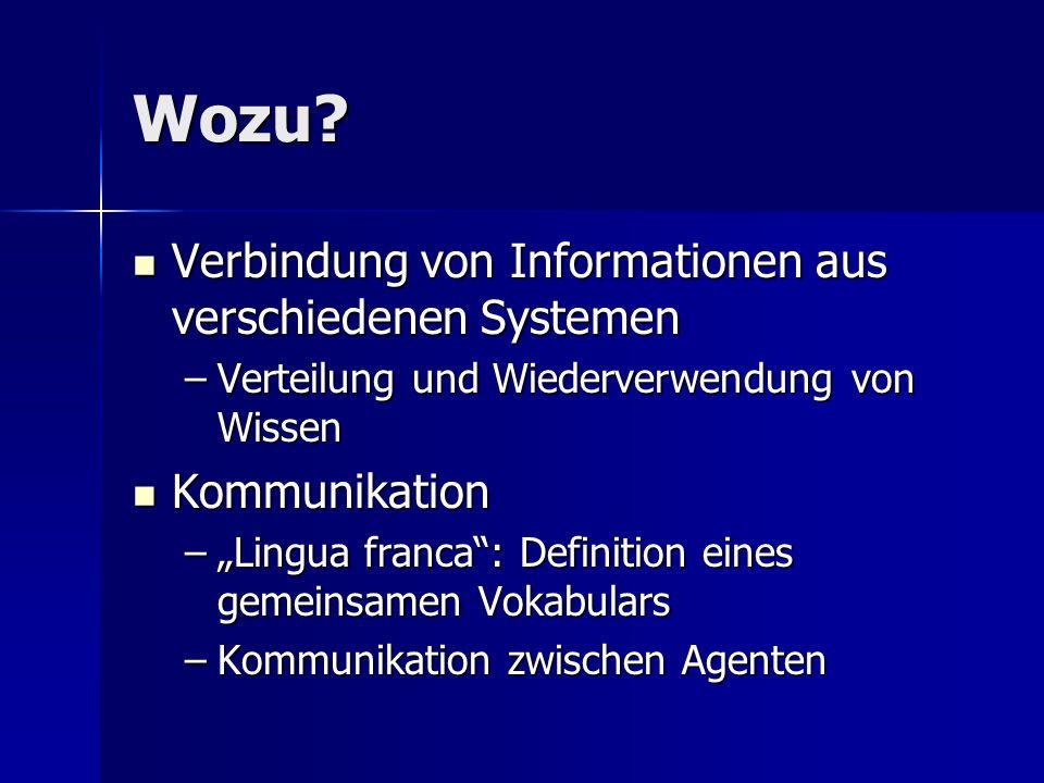 Wozu? Verbindung von Informationen aus verschiedenen Systemen Verbindung von Informationen aus verschiedenen Systemen –Verteilung und Wiederverwendung