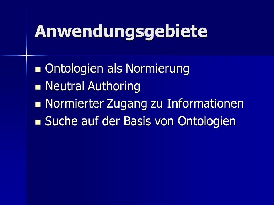 Anwendungsgebiete Ontologien als Normierung Ontologien als Normierung Neutral Authoring Neutral Authoring Normierter Zugang zu Informationen Normierte