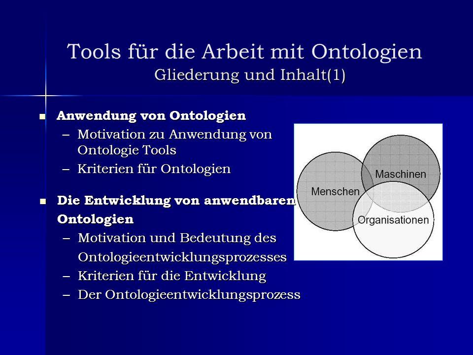 Gliederung und Inhalt(1) Anwendung von Ontologien Anwendung von Ontologien –Motivation zu Anwendung von Ontologie Tools –Kriterien für Ontologien Die