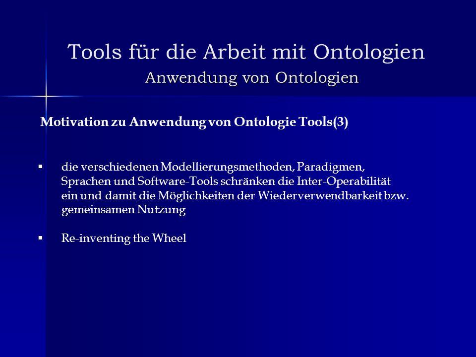 Anwendung von Ontologien Motivation zu Anwendung von Ontologie Tools(3) die verschiedenen Modellierungsmethoden, Paradigmen, Sprachen und Software-Too