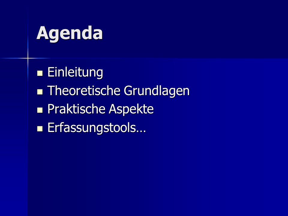 Agenda Einleitung Einleitung Theoretische Grundlagen Theoretische Grundlagen Praktische Aspekte Praktische Aspekte Erfassungstools… Erfassungstools…