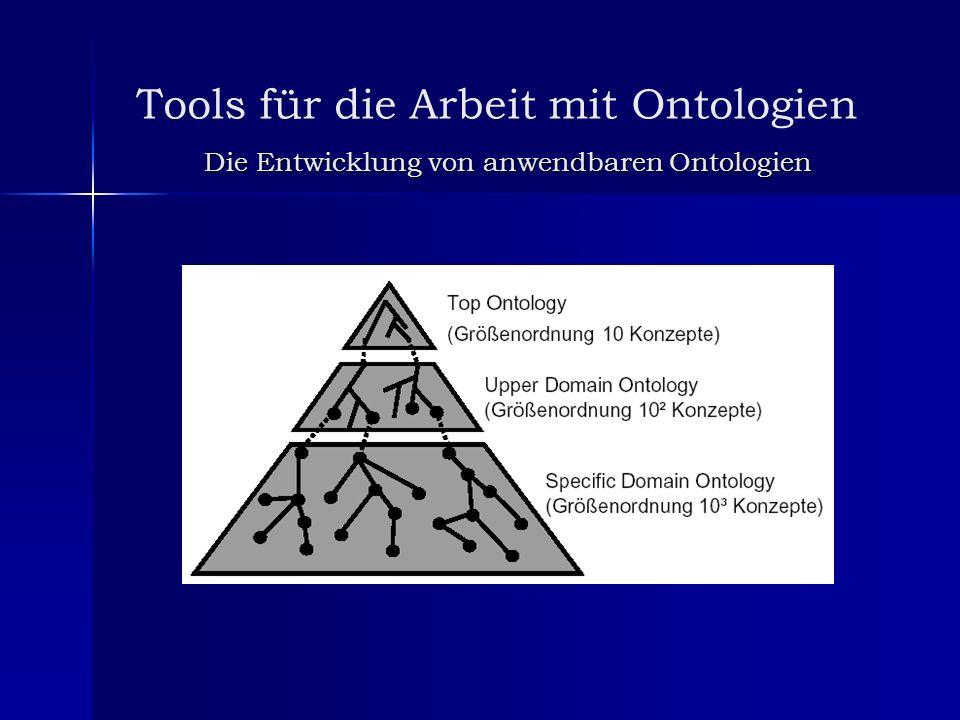 Tools für die Arbeit mit Ontologien Die Entwicklung von anwendbaren Ontologien