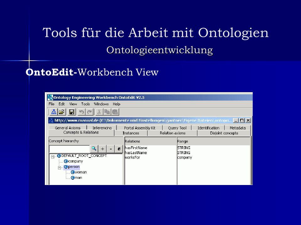 Tools für die Arbeit mit Ontologien Ontologieentwicklung OntoEdit- Workbench View