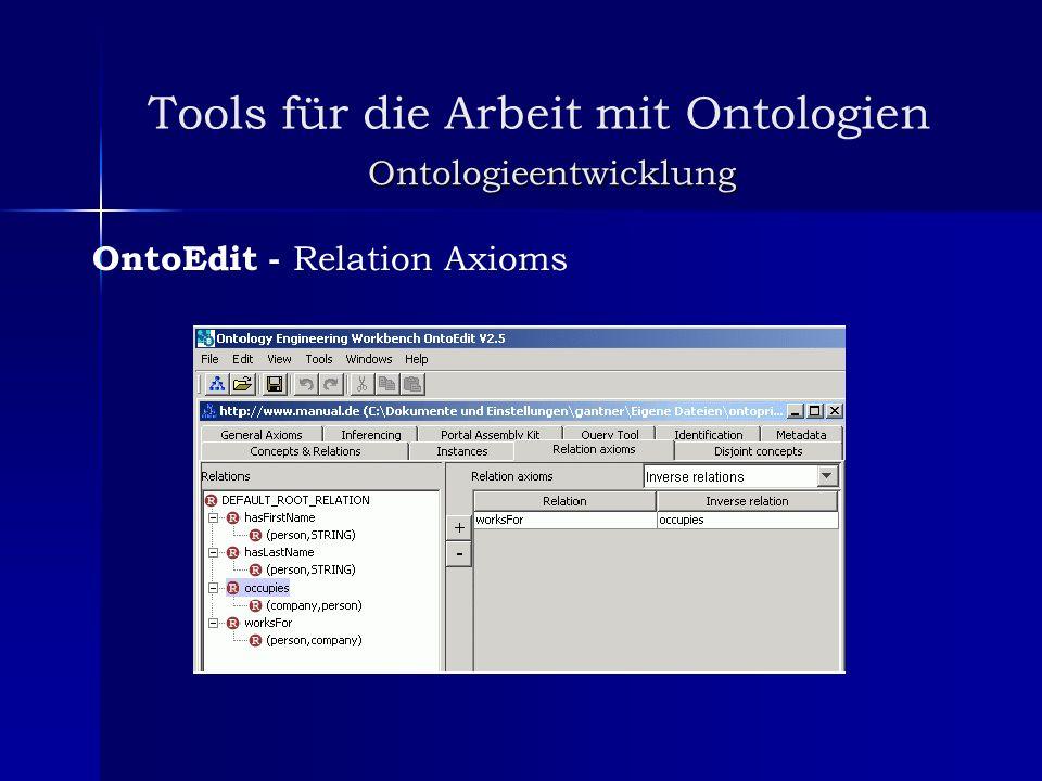 Tools für die Arbeit mit Ontologien Ontologieentwicklung OntoEdit - Relation Axioms