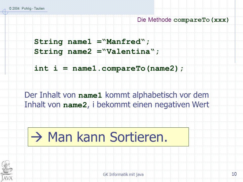 © 2004 Pohlig - Taulien GK Informatik mit java 10 Die Methode compareTo(xxx) String name1 =Manfred; String name2 =Valentina; int i = name1.compareTo(n