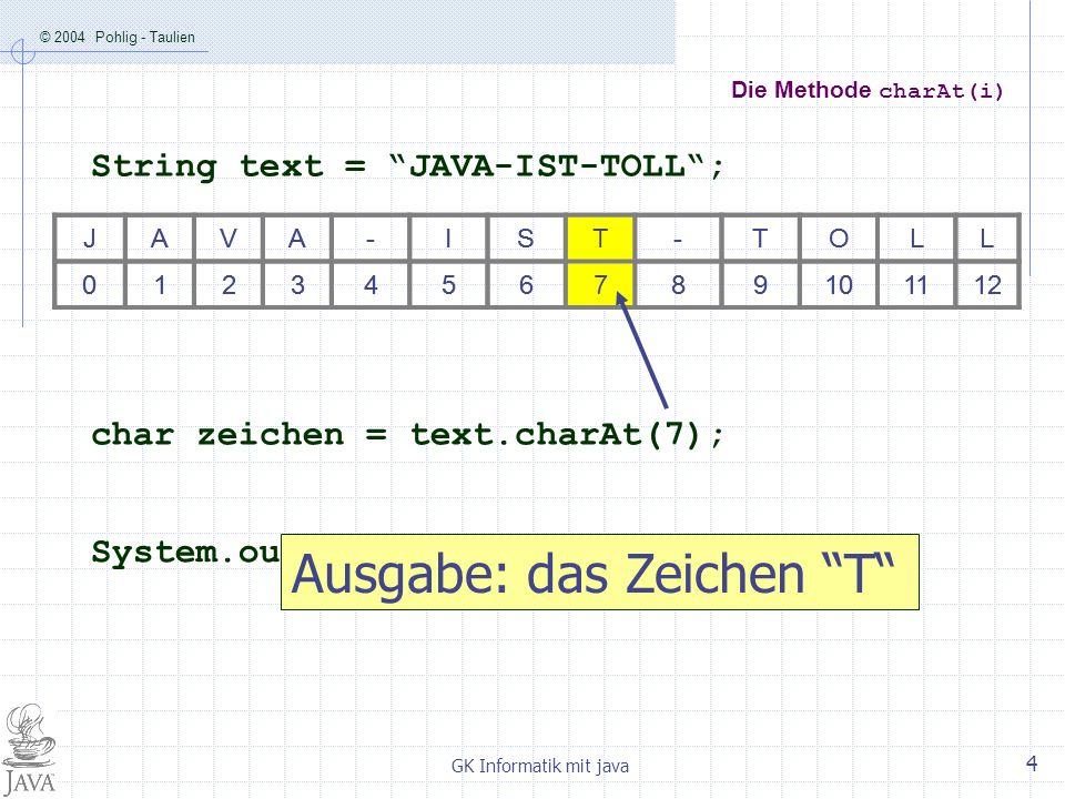 © 2004 Pohlig - Taulien GK Informatik mit java 5 Die Methode substring(i,j) JAVA-IST-TOLL 0123456789101112 Immer noch: text = JAVA-IST-TOLL; String teil = text.substring(3,7); System.out.println(teil); Ausgabe: A-IS JAVA-IST-TOLL 0123456789101112