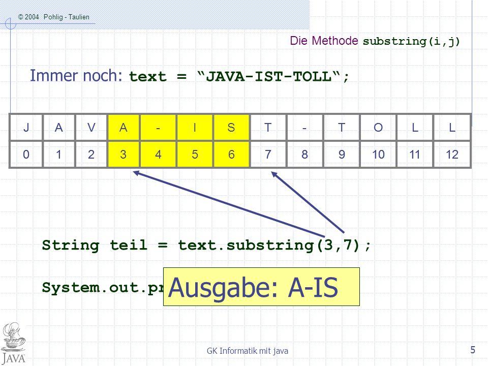 © 2004 Pohlig - Taulien GK Informatik mit java 6 Die Methode length() Immer noch: text = JAVA-IST-TOLL; JAVA-IST-TOLL 0123456789101112 int laenge = text.length(); System.out.println(laenge); Ausgabe: 13