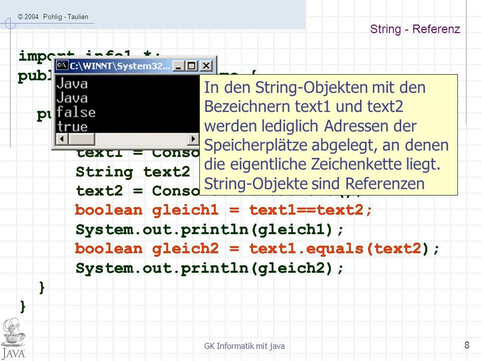 © 2004 Pohlig - Taulien GK Informatik mit java 9 String – Referenz - Speicheroptimierung public class EqualsDemo2 { public static void main (String args[]) { String text1 = new String(); text1 = Java ; String text2 = new String(); text2 = Java ; boolean gleich1 = text1==text2; System.out.println(gleich1); boolean gleich2 = text1.equals(text2); System.out.println(gleich2); } Der Compiler erkennt, dass die beiden Referenzen auf die gleiche Zeichenkette zeigen.