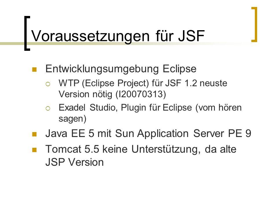 Voraussetzungen für JSF Entwicklungsumgebung Eclipse WTP (Eclipse Project) für JSF 1.2 neuste Version nötig (I20070313) Exadel Studio, Plugin für Eclipse (vom hören sagen) Java EE 5 mit Sun Application Server PE 9 Tomcat 5.5 keine Unterstützung, da alte JSP Version