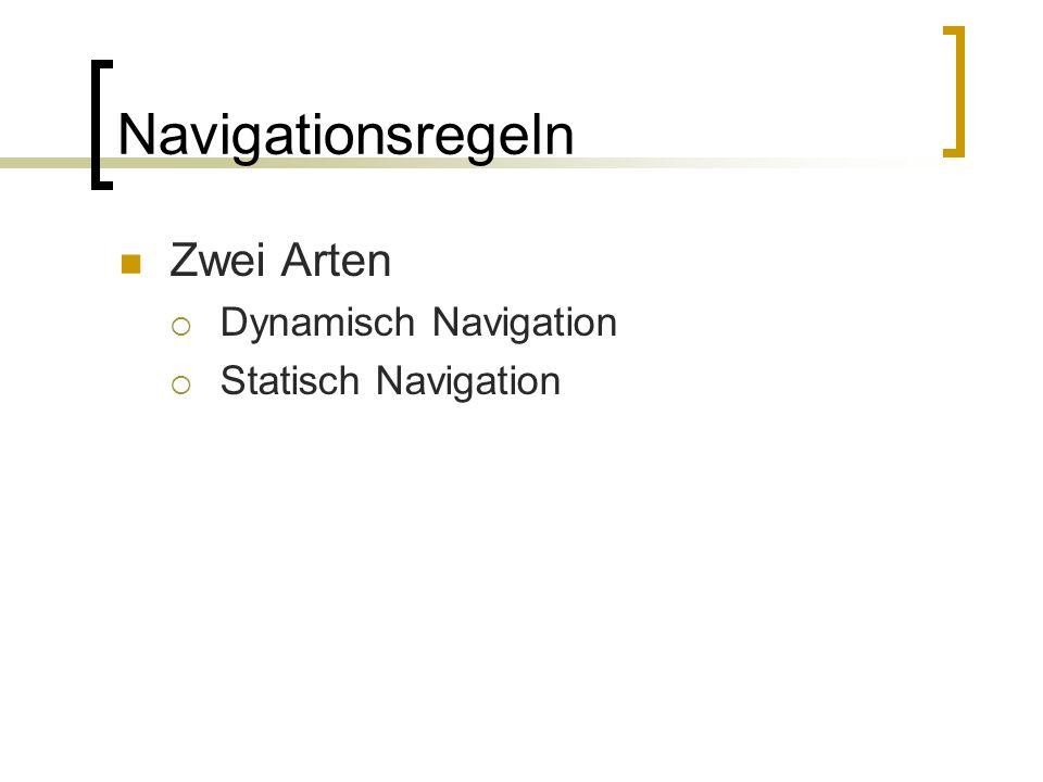 Navigationsregeln Zwei Arten Dynamisch Navigation Statisch Navigation