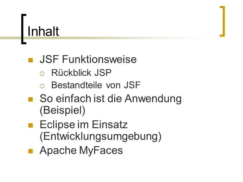 Inhalt JSF Funktionsweise Rückblick JSP Bestandteile von JSF So einfach ist die Anwendung (Beispiel) Eclipse im Einsatz (Entwicklungsumgebung) Apache MyFaces